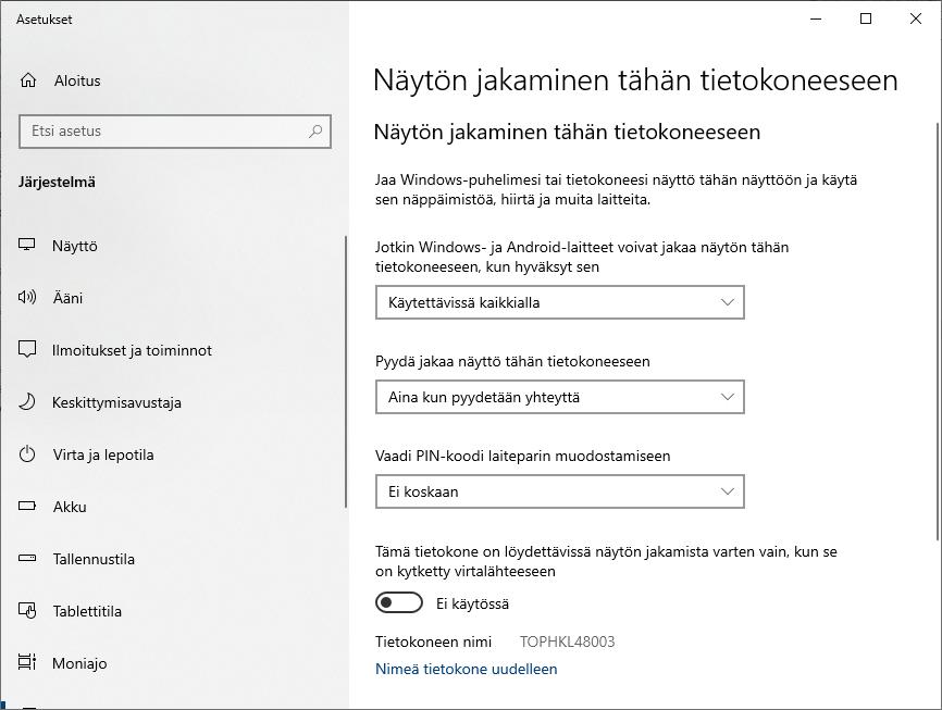 Windows 10 näytön jakamisen asetukset